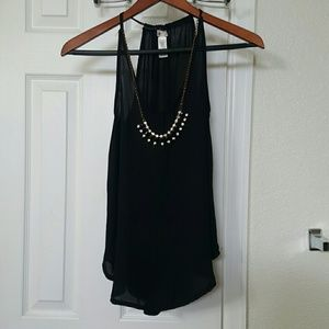 Black sheer cami with necklace